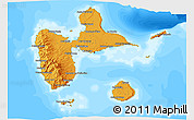 Political Shades 3D Map of Guadeloupe, semi-desaturated, land only