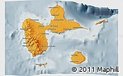 Political Shades 3D Map of Guadeloupe, semi-desaturated
