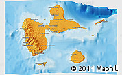 Political Shades 3D Map of Guadeloupe, shaded relief outside, bathymetry sea