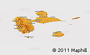 Political Shades Panoramic Map of Guadeloupe, cropped outside