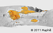 Political Shades Panoramic Map of Guadeloupe, desaturated