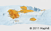 Political Shades Panoramic Map of Guadeloupe, lighten