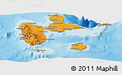 Political Shades Panoramic Map of Guadeloupe, physical outside