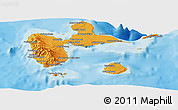 Political Shades Panoramic Map of Guadeloupe