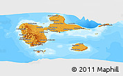 Political Shades Panoramic Map of Guadeloupe, semi-desaturated, land only