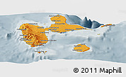 Political Shades Panoramic Map of Guadeloupe, semi-desaturated