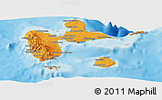 Political Shades Panoramic Map of Guadeloupe, shaded relief outside, bathymetry sea
