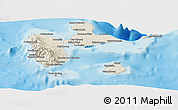 Shaded Relief Panoramic Map of Guadeloupe