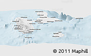 Silver Style Panoramic Map of Guadeloupe