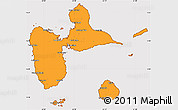 Political Simple Map of Guadeloupe, cropped outside