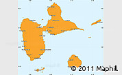Political Simple Map of Guadeloupe, political shades outside