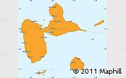 Political Simple Map of Guadeloupe, single color outside