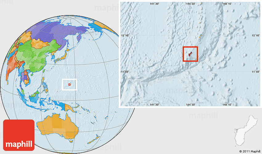 Guam On A World Map.Political Location Map Of Guam