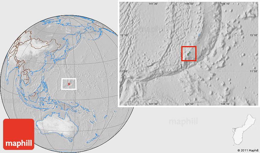 Satellite Location Map of Guam, lighten, desaturated