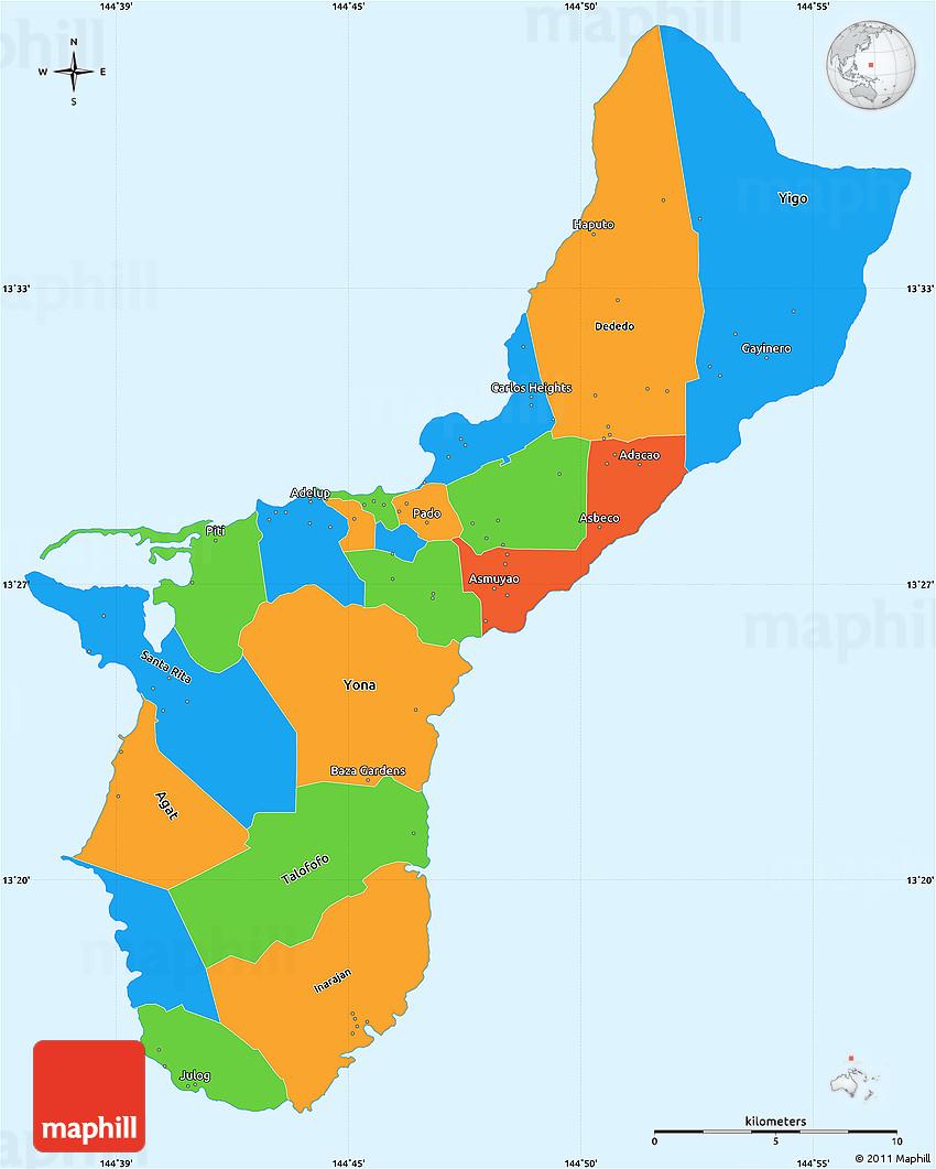 Political Simple Map of Guam, single color outside