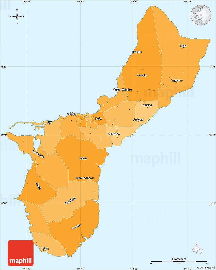 Political Shades Simple Map Of Guam - Map of guam