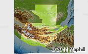 Physical 3D Map of Guatemala, darken
