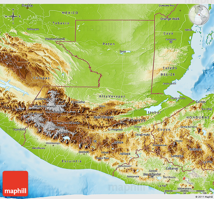 Physical 3D Map of Guatemala
