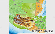 Physical 3D Map of Guatemala, political shades outside, shaded relief sea