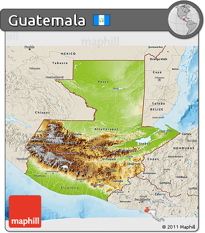 Physical 3D Map of Guatemala, shaded relief outside