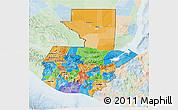 Political 3D Map of Guatemala, lighten