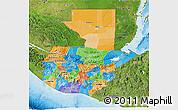 Political 3D Map of Guatemala, satellite outside, bathymetry sea