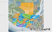 Political 3D Map of Guatemala, semi-desaturated