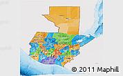 Political 3D Map of Guatemala, single color outside