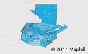 Political Shades 3D Map of Guatemala, cropped outside