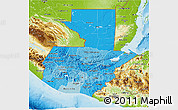 Political Shades 3D Map of Guatemala, physical outside