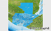 Political Shades 3D Map of Guatemala, satellite outside, bathymetry sea