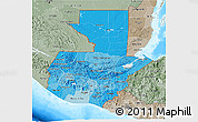 Political Shades 3D Map of Guatemala, semi-desaturated, land only