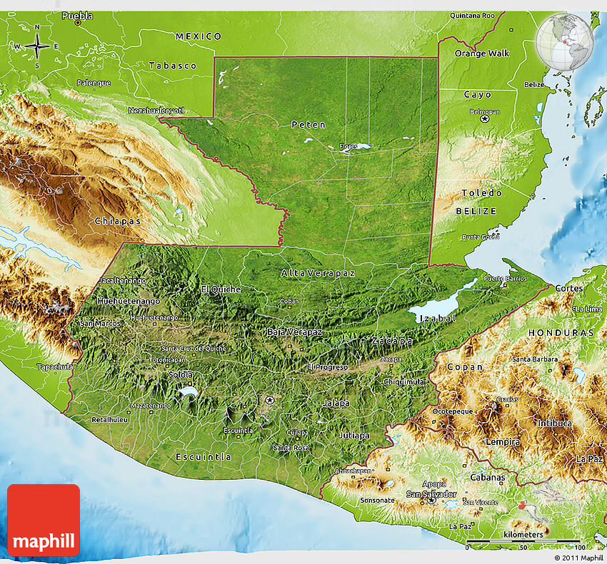 Satellite 3D Map of Guatemala physical outside