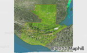 Satellite 3D Map of Guatemala, semi-desaturated, land only