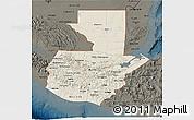 Shaded Relief 3D Map of Guatemala, darken