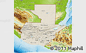 Shaded Relief 3D Map of Guatemala, physical outside