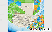 Shaded Relief 3D Map of Guatemala, political outside, shaded relief sea