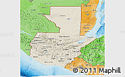Shaded Relief 3D Map of Guatemala, political shades outside, shaded relief sea
