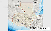 Shaded Relief 3D Map of Guatemala, semi-desaturated, land only
