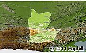 Physical 3D Map of Cahabon, darken