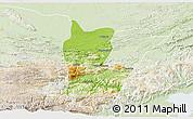 Physical 3D Map of Cahabon, lighten