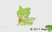 Physical 3D Map of Cahabon, single color outside