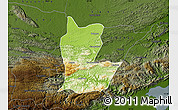Physical Map of Cahabon, darken
