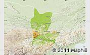 Physical Map of Cahabon, lighten