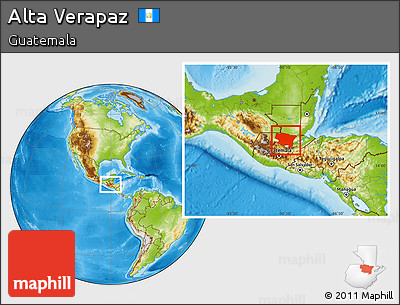 Physical Location Map of Alta Verapaz