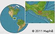 Satellite Location Map of Baja Verapaz