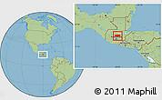 Savanna Style Location Map of Baja Verapaz