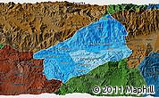 Political Shades 3D Map of El Progreso, darken