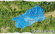 Political Shades 3D Map of El Progreso, satellite outside