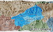 Political Shades 3D Map of El Progreso, semi-desaturated